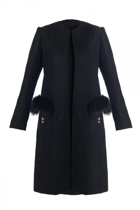 Дамско Палто Black Star - Дамски дрехи  - Палта, Луксозни дрехи, бански 2019, промоция бански, комплект мама и бебе, ленени ризи, дрехи по поръчка, шапки с пух, дамски дрехи, дамски палта, Палта