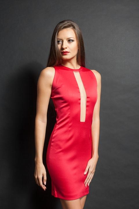 Къса Червена рокля Slim Fit