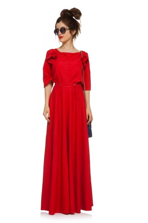 Комплект Red F - Дамски дрехи  - Комплекти, Луксозни дрехи, бански 2019, промоция бански, комплект мама и бебе, ленени ризи, дрехи по поръчка, шапки с пух, дамски дрехи, дамски палта, Комплекти