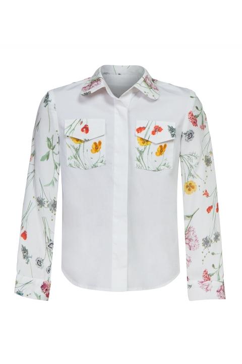 Детска риза с флорални мотиви Daisy - Детски дрехи  - Ризи, Луксозни дрехи, бански 2019, промоция бански, комплект мама и бебе, ленени ризи, дрехи по поръчка, шапки с пух, дамски дрехи, дамски палта, Ризи