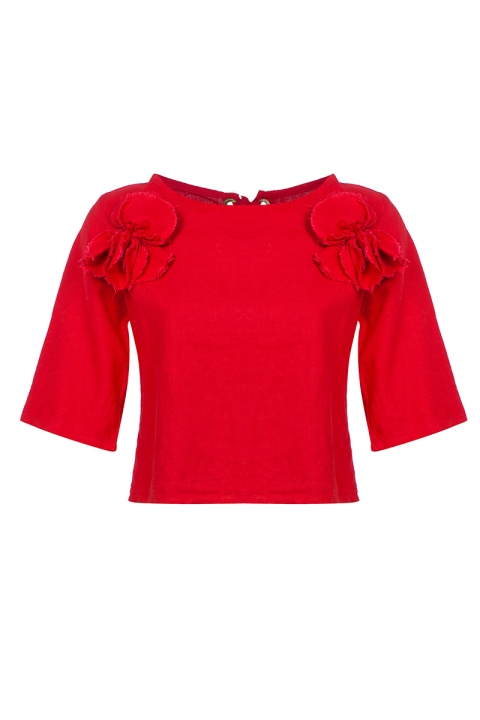 Дамска блуза Red F - Дамски дрехи  - Блузи, Луксозни дрехи, бански 2019, промоция бански, комплект мама и бебе, ленени ризи, дрехи по поръчка, шапки с пух, дамски дрехи, дамски палта, Блузи