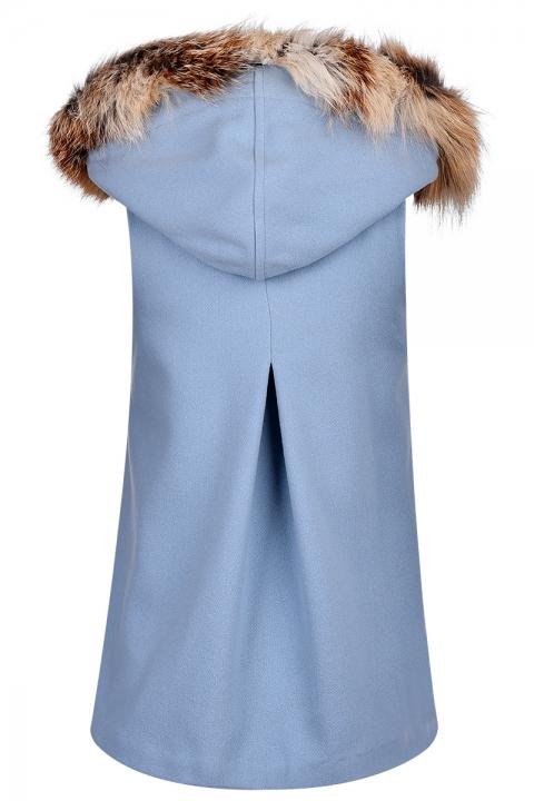 Дамски елек с качулка от лисичи пух