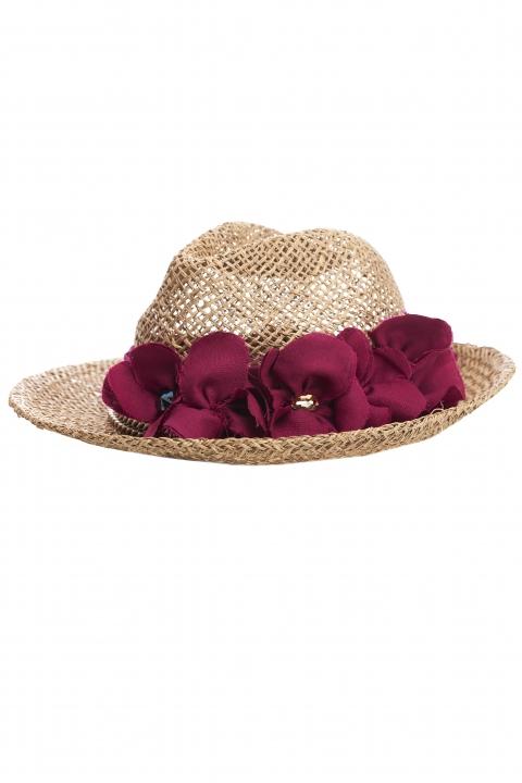 Дамска сламена шапка с цветя и кристали Swarovski
