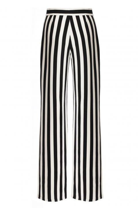 Дамски панталон райе Black / White