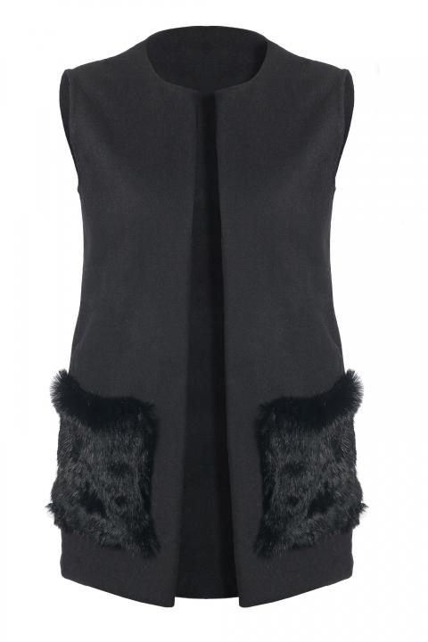 Дамски елек с два външни джоба от естествен косъм