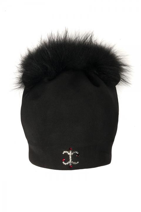 Дамска шапка с естествен пух от лисица
